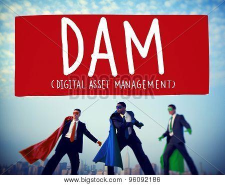 DAM Digital Asset Management Organization Concept poster