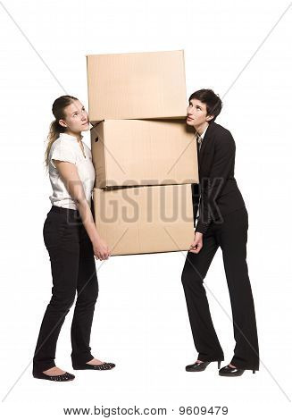 Two women with boxes