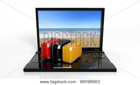 Suitcases on black laptop keyboard with beach on screen, isolated