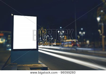 Public information board with copy space for your text message or content in night city