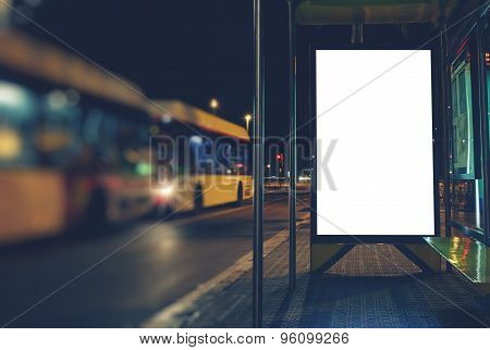 Mock up banner with copy space for your text message or content advertising of bus station