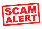 SCAM ALERT red Rubber Stamp over a white background. poster
