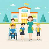 Young students, child with special needs and female teacher in front of school building poster