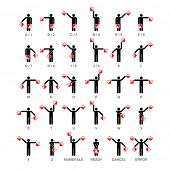 Semaphore flag signals, alphabet and numbers. Vector. poster