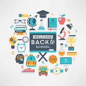 Welcome back to school flat design education icon set