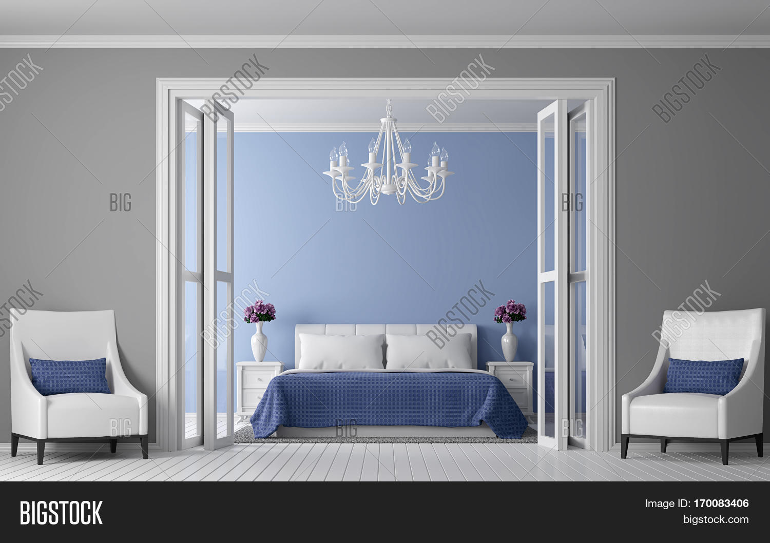 modern vintage bedroom interior 3d rendering image view from front of roomthere are
