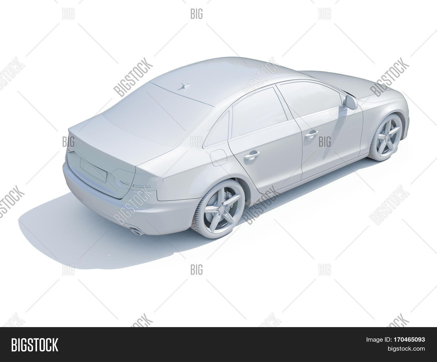 3d render car white blank template image photo bigstock. Black Bedroom Furniture Sets. Home Design Ideas