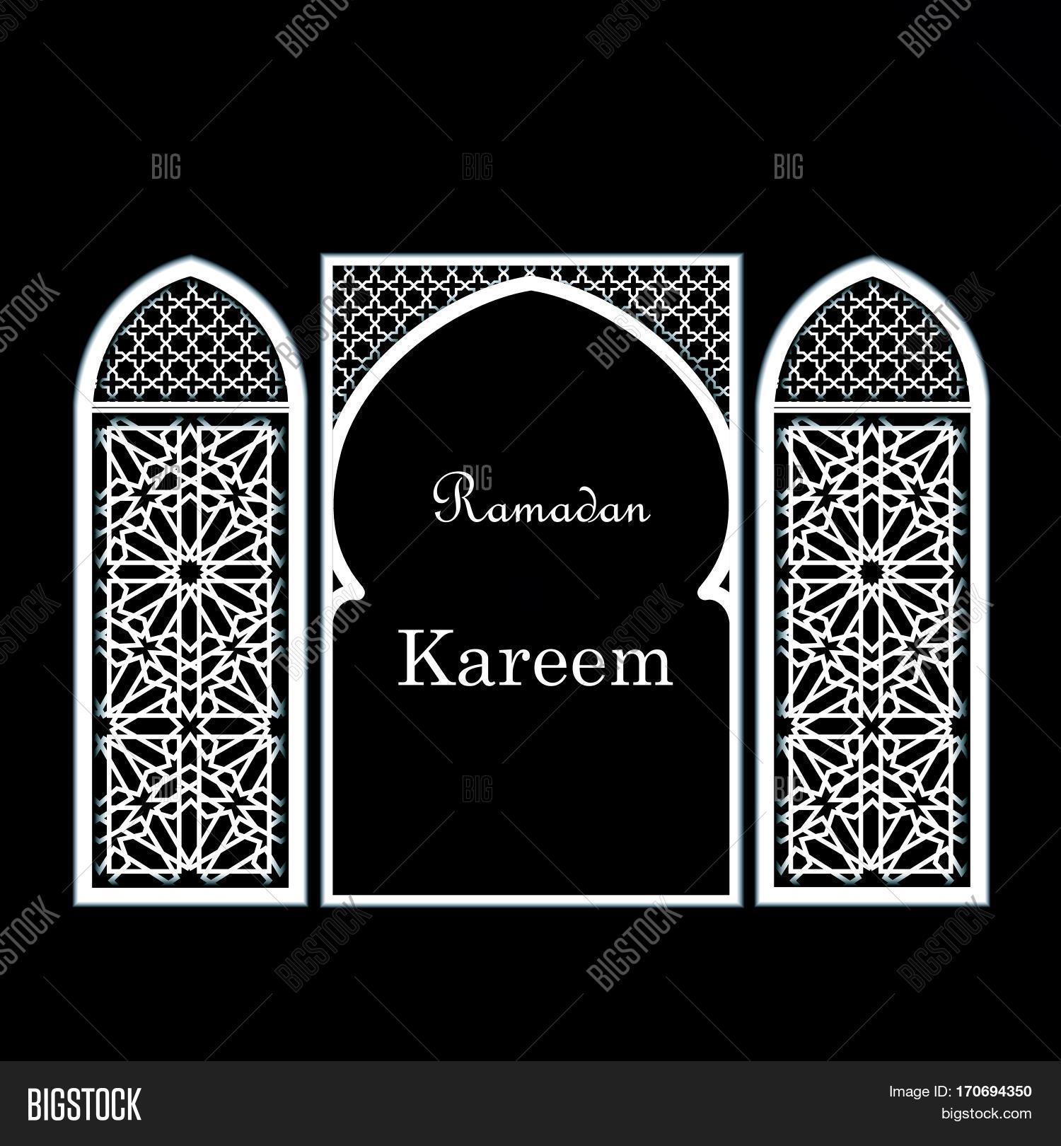 Ramadan greeting card mosque door vector photo bigstock ramadan greeting card with mosque door with arabic pattern ornament ramadan kareem calligraphy vector kristyandbryce Image collections