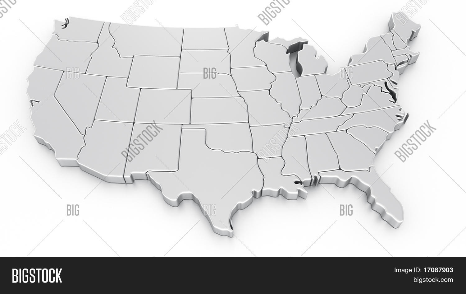3d Rendering Map Usa Image Photo Free Trial Bigstock - Free-3d-us-map