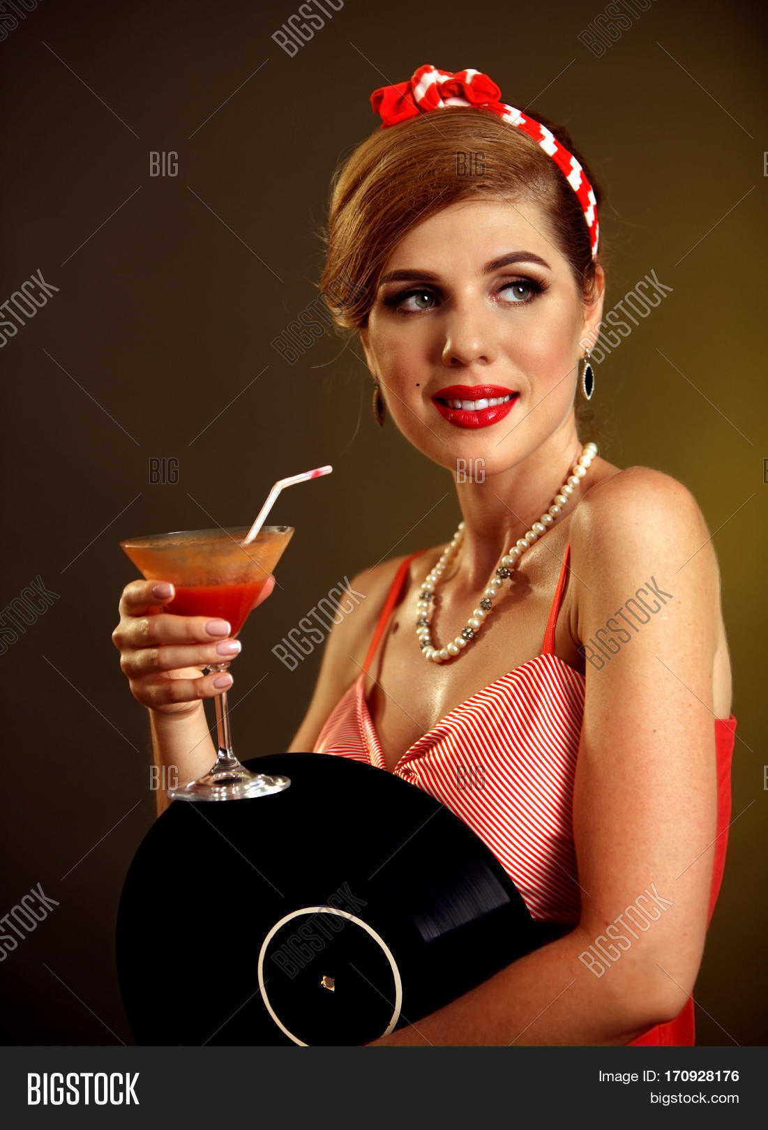 Girl Sits In A Glass With A Cocktail Stock Photo - Image ...