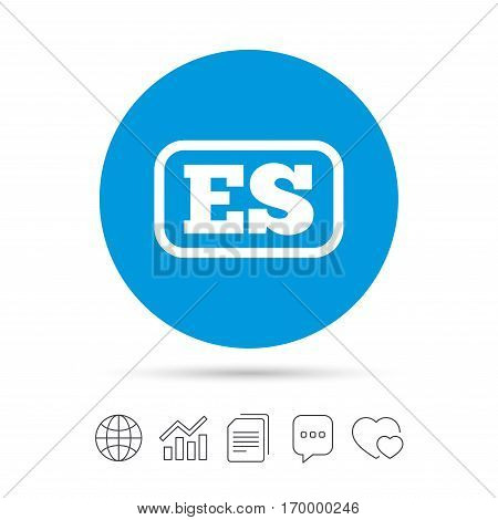 Spanish language sign icon. ES translation symbol with frame. Copy files, chat speech bubble and chart web icons. Vector