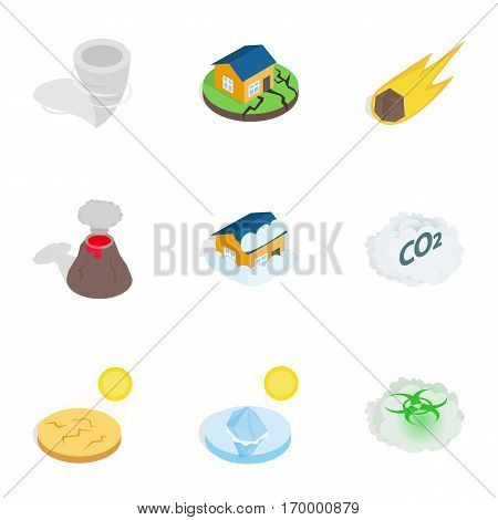 Disaster icons set. Isometric 3d illustration of 9 disaster vector icons for web