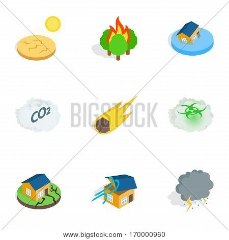 Crisis icons set. Isometric 3d illustration of 9 crisis vector icons for web