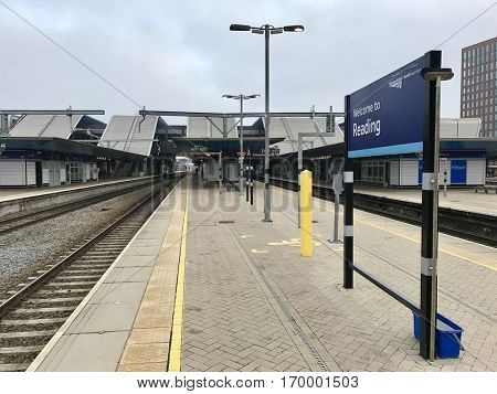 READING - DECEMBER 18: A Welcome to Reading sign on the platform at Reading Station on December 18, 2016 in Reading, Berkshire, UK.