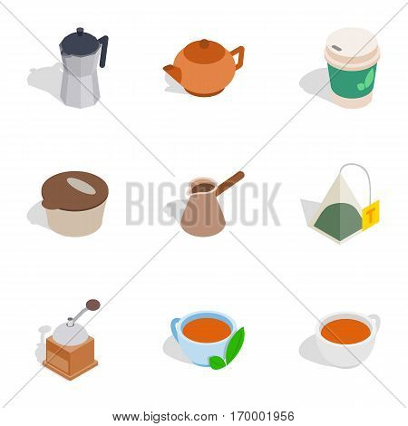 Coffee icons set. Isometric 3d illustration of 9 coffee vector icons for web