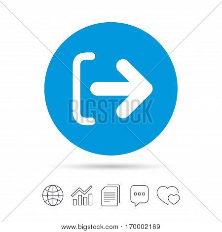 Logout sign icon. Sign out symbol. Arrow icon. Copy files, chat speech bubble and chart web icons. Vector