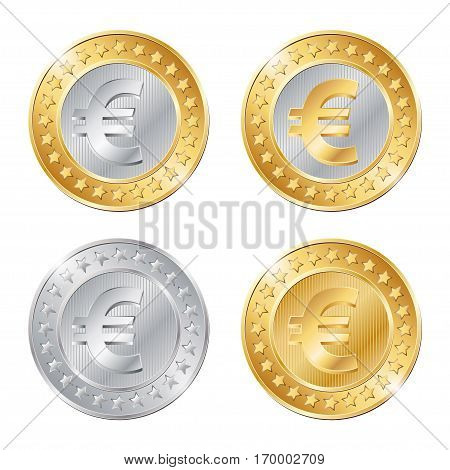 Vector Illustration Of Four Coins With Euro Sign