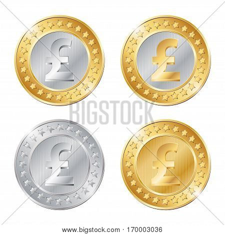 Vector Illustration Of Four Coins With Pound Sign
