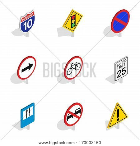 Road and highway sign icons set. Isometric 3d illustration of 9 road and highway sign vector icons for web