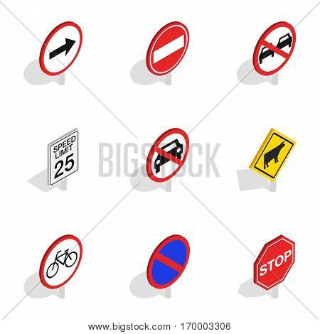 Warning traffic sign icons set. Isometric 3d illustration of 9 warning traffic sign vector icons for web