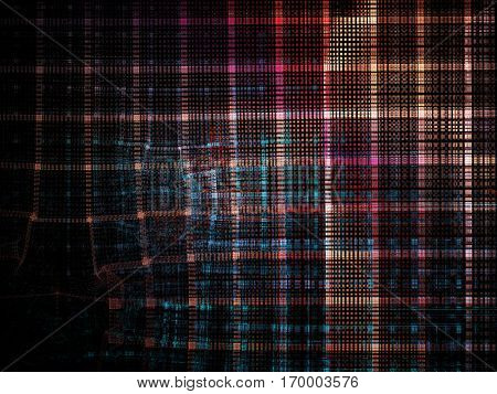 Abstract background element. Distortion of regular grid pattern. Technology glitch concept.