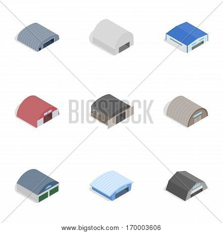 Barn icons set. Isometric 3d illustration of 9 barn vector icons for web