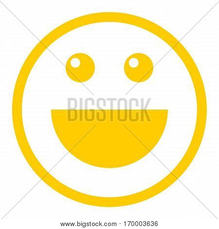 Smiley happy smiling face emoticon icon in flat style. Quick and easy recolorable shape. Vector illustration a graphic element