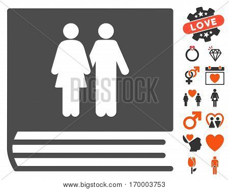 Family Album icon with bonus decoration pictures. Vector illustration style is flat iconic elements for web design app user interfaces.