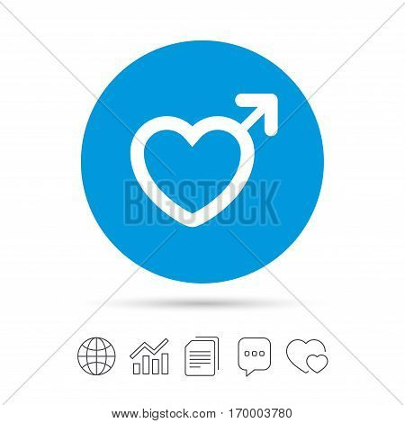 Male sign icon. Male sex heart button. Copy files, chat speech bubble and chart web icons. Vector