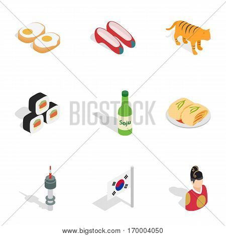 Symbols of South Korea icons set. Isometric 3d illustration of 9 symbols of South Korea vector icons for web