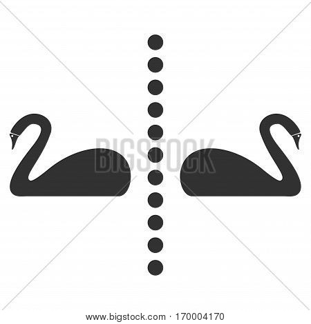 Separate Swans vector icon symbol. Flat pictogram designed with gray and isolated on a white background.