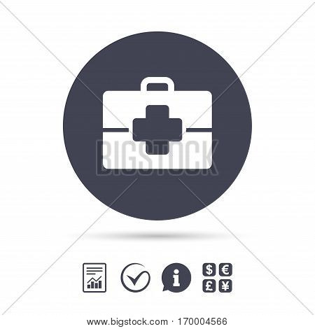 Medical case sign icon. Doctor symbol. Report document, information and check tick icons. Currency exchange. Vector