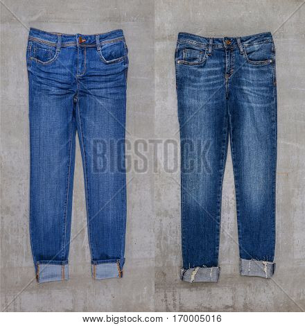 Two blue jeans trouser isolated-gray background