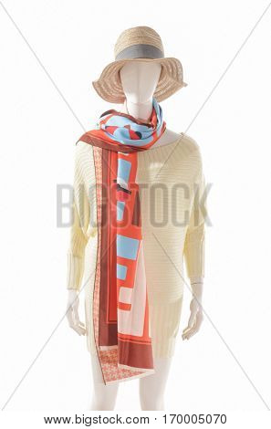 Sundress dress with hat ,scarf on female mannequin