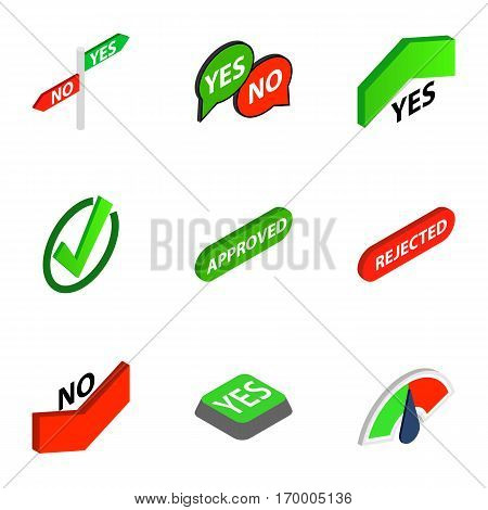 Correct and incorrect icons set. Isometric 3d illustration of 9 correct and incorrect vector icons for web