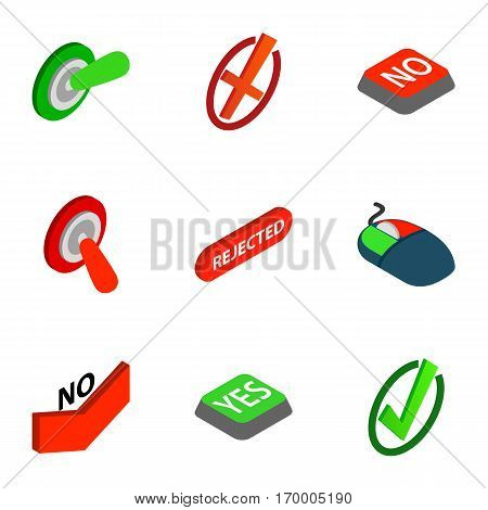 Interface buttons Yes, No icons set. Isometric 3d illustration of 9 interface buttons Yes, No vector icons for web
