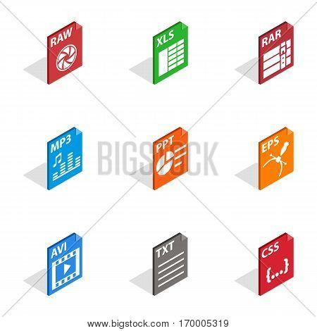 Program file icons set. Isometric 3d illustration of 9 program file vector icons for web