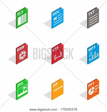 File label icons set. Isometric 3d illustration of 9 file label vector icons for web
