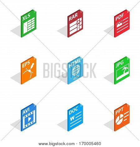 Document file format icons set. Isometric 3d illustration of 9 document file format vector icons for web