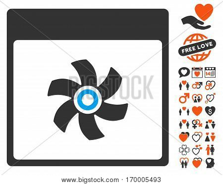 Fan Calendar Page icon with bonus decorative design elements. Vector illustration style is flat iconic symbols for web design app user interfaces.