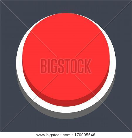Web internet circle button in 3D flat style. Inactive variant. Quick and easy recolorable shape. Vector illustration a graphic element
