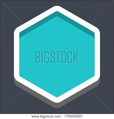 Web internet hexagon button in 3D flat style. Clicked variant. Quick and easy recolorable shape. Vector illustration a graphic element