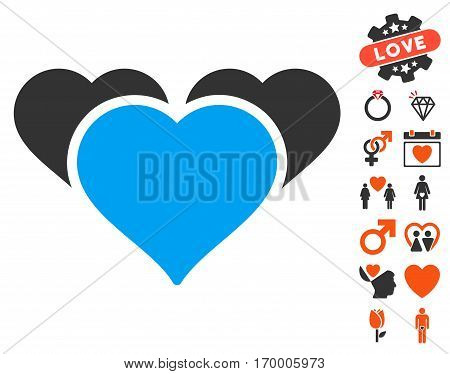 Favourite Hearts icon with bonus amour clip art. Vector illustration style is flat iconic symbols for web design app user interfaces.