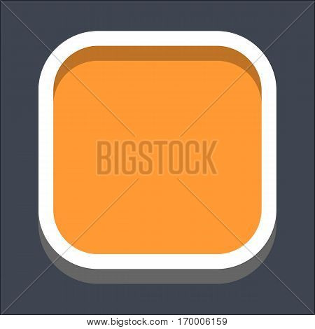 Web internet square button in 3D flat style. Clicked variant. Quick and easy recolorable shape. Vector illustration a graphic element