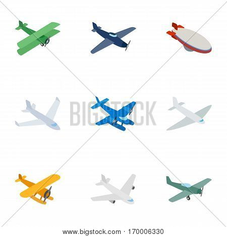Aircraft icons set. Isometric 3d illustration of 9 aircraft vector icons for web