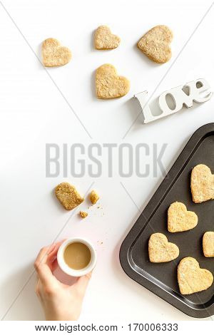 cookies for Valentine's Day heartshaped on white background top view