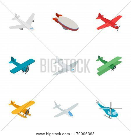 Aviation icons set. Isometric 3d illustration of 9 aviation vector icons for web