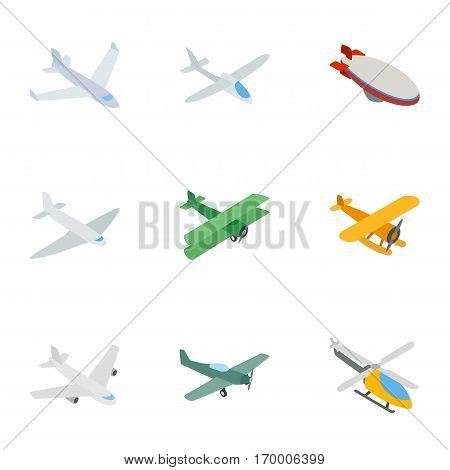 Flying aircraft icons set. Isometric 3d illustration of 9 flying aircraft vector icons for web