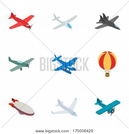 Airplane icons set. Isometric 3d illustration of 9 airplane vector icons for web