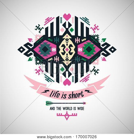 Art aztec colorful ornament for wallpaper, cloth design, textile
